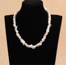 白色再生珍珠项链 配心形扣