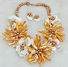 贝壳花 珍珠项链 耳环