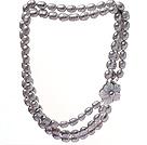 9-10mm 天然灰色米形珍珠项链 三排贝壳花扣款