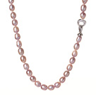 8-9mm 天然紫色米形珍珠项链 配时尚扣