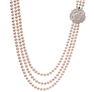 8-9mm 天然白珍珠项链 三层款