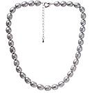 8-9mm 银灰色米形珍珠项链 简约单层珠链款