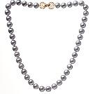 10-10.5 A级银灰色珍珠项链 简约单层珠链款