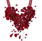 红珊瑚花朵项链 配合金扣