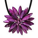 马眼紫色贝壳 珍珠项链 配磁力扣 皮绳编花款