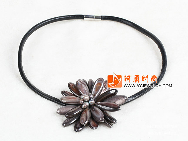 马眼贝壳珍珠项链 配磁力扣 皮绳编花款 - 编号:x3797