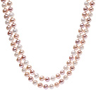 8-9mm 混色珍珠项链  白/粉/紫 120cm长款