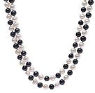 8-9mm 黑白混色珍珠项链 120cm长款