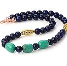 青金石绿松石项链 配镀金镂空珠 简约单层款