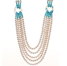 珍珠玛瑙蓝玉项链 多层款毛衣链 五层长款