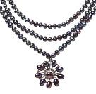 天然黑色珍珠项链 配珍珠 锆石吊坠
