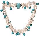 白珍珠 松石项链