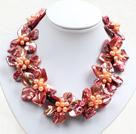 橘红色系9朵贝壳花皮绳项链