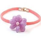 紫色亚克力花 粉色皮绳项链