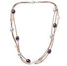 天然多色珍珠项链  配龙虾扣 三层皮绳长款