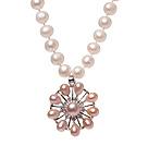 天然白色珍珠项链 配粉珍珠吊坠 珠链吊坠款
