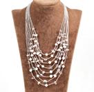 多层珍珠白水晶项链