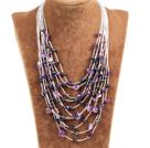多层黑珍珠紫晶项链