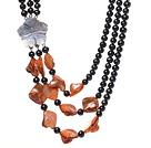 天然黑色珍珠 贝壳项链 三层独特花扣款