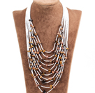 多层棕色珍珠虎眼石项链