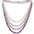 渐变色巴洛克珍珠 水晶项链 四层款