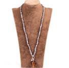 灰珍珠棕色琉璃心项链