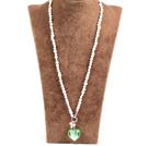 白珍珠绿色琉璃心项链