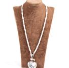 白珍珠心形金属吊坠项链