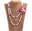 白珍珠红玛瑙贝壳花长款项链