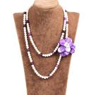 白珍珠紫玛瑙贝壳花长款项链