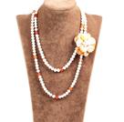 白珍珠原色玛瑙贝壳花长款项链