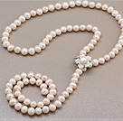 天然白色珍珠项链 配贝壳花磁力扣