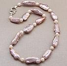 异形天然紫色珍珠项链 单层唯美款