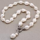 大颗粒巴洛克白色珍珠项链 单层唯美款
