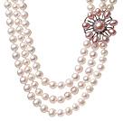 天然白色珍珠项链 三层粉色珍珠花款