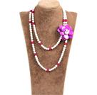 白珍珠紫红玛瑙贝壳花长款项链
