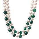天然白色珍珠 绿玛瑙项链 两层款