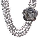天然灰色珍珠项链 三层贝壳花扣款