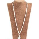 白珍珠金属桃心吊坠项链