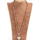 棕色珍珠金属桃心吊坠项链