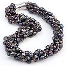 天然黑色珍珠水晶项链 配磁力扣 多股扭扭款
