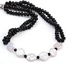 纽扣珍珠 黑色水晶项链