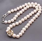 天然白色珍珠项链 配镶钻饰品