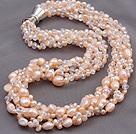 珍珠人造水晶项链 配磁力扣 多股扭扭款