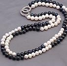 天然黑白双混色珍珠项链 两层款