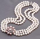 天然白色亮光珍珠项链 配粉色珍珠花 三层款