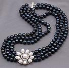 天然黑色亮光珍珠项链 三层白色珍珠花款