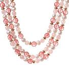 珍珠 西瓜水晶项链 三层款