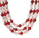 珍珠 西瓜水晶 红玛瑙项链 三层款