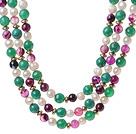白珍珠 紫玛瑙 绿玛瑙项链 三层款